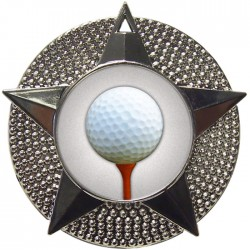 Silver Golf Ball and Tee Medal 48mm