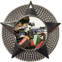 Silver Rifle Shooting Medal 48mm