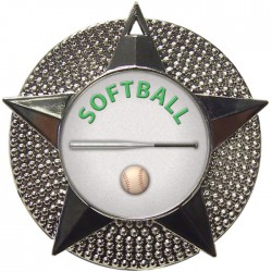Silver Softball Medal 48mm