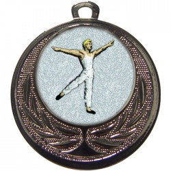 Silver Male Dance Medal 40mm