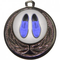 Silver Blue Suede Shoes Dance Medal 40mm