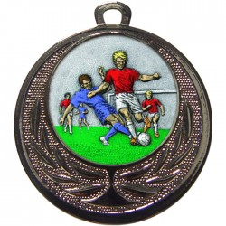 Silver Male Football Medal 40mm