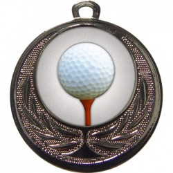 Silver Golf Ball and Tee Medal 40mm