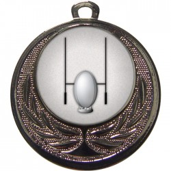 Silver Rugby Medal 40mm
