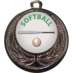 Silver Softball Medal 40mm