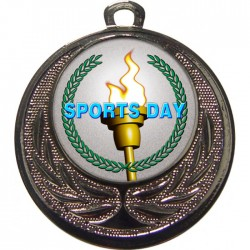 Silver Sports Day Torch Medal 40mm