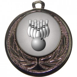Silver Ten Pin Bowling Medal 40mm