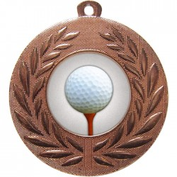 Bronze Golf Ball and Tee Medal 50mm