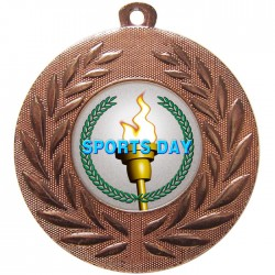 Bronze Sports Day Torch Medal 50mm