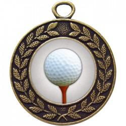 Bronze Golf Ball and Tee Medal 45mm