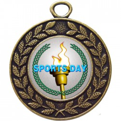 Bronze Sports Day Torch Medal 45mm