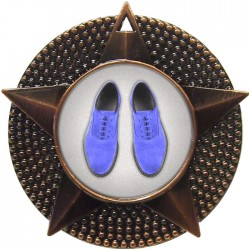 Bronze Blue Suede Shoes Dance Medal 48mm