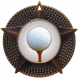 Bronze Golf Ball and Tee Medal 48mm
