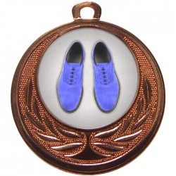 Bronze Blue Suede Shoes Dance Medal 40mm