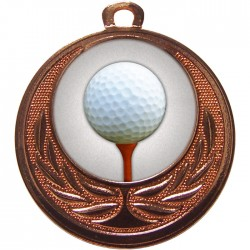 Bronze Golf Ball and Tee Medal 40mm