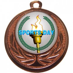 Bronze Sports Day Torch Medal 40mm