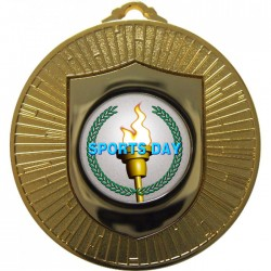 Gold Sports Day Torch Medal 60mm