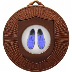 Bronze Blue Suede Shoes Medal 60mm