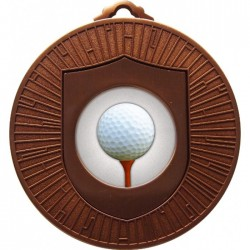 Bronze Golf Ball and Tee Medal 60mm