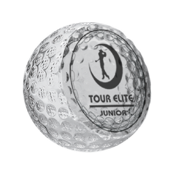 Golf Ball Trophy Clear Glass 9cm