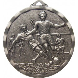 Silver 50mm Male Football Medal