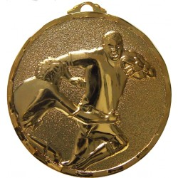 Gold 40mm Rugby Medal