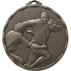 Silver 50mm Rugby Medal