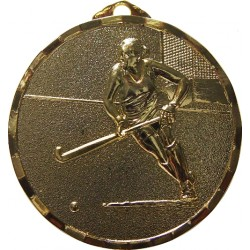 Gold 40mm Female Hockey Medal