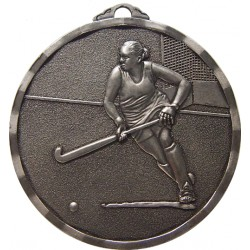 Silver 40mm Female Hockey Medal
