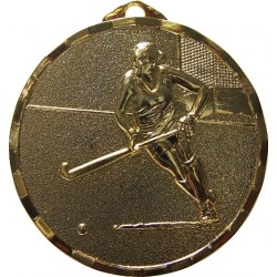 Gold 50mm Female Hockey Medal