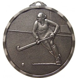 Silver 50mm Female Hockey Medal