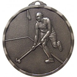 Silver 40mm Male Hockey Medal