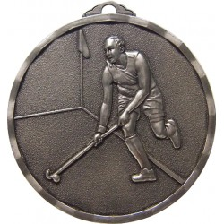Silver 50mm Male Hockey Medal