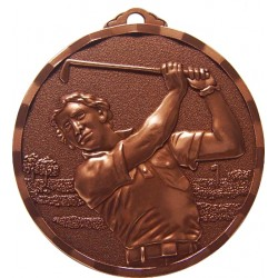 Bronze 50mm Male Golf Medal