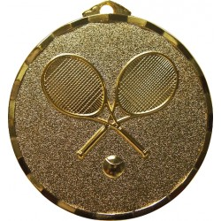 Gold 50mm Tennis Racket Medal