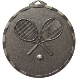 Silver 50mm Tennis Racket Medal