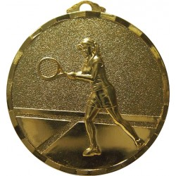 Gold 40mm Female Tennis Medal