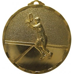 Gold 40mm Male Tennis Medal
