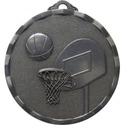 Silver 40mm Basketball Medal