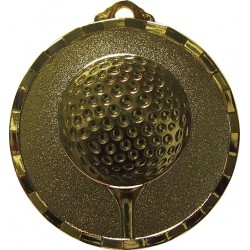 Gold 40mm Golf Ball and Tee Medal