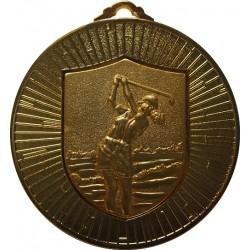 Gold 60mm Female Golf Medal