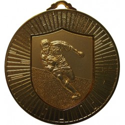 Gold 60mm Rugby Medal
