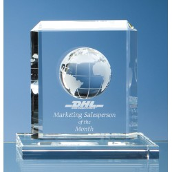 Optical Crystal Rectangle Globe Award Small