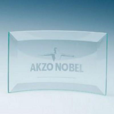 Jade Glass Bevelled Crescent Plaque Large