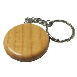 Round Maple Wood Key Ring