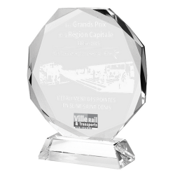 Clear Glass Octagon Award 20cm