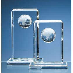 Optical Crystal Rectangle Globe Award Medium