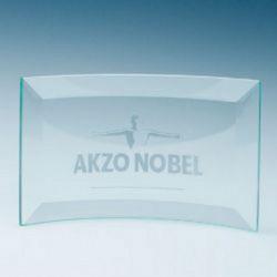 Jade Glass Bevelled Crescent Plaque Medium